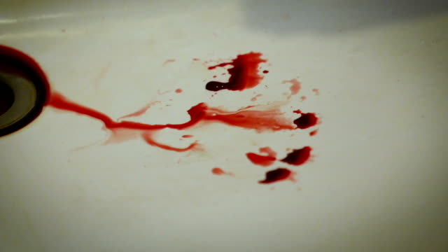 Blood dripping sink in video