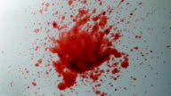 Blood splash on frosted glass video