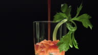 Bloody Mary pouring in a glass video
