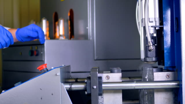 A blow molding machine at work in high speed. video