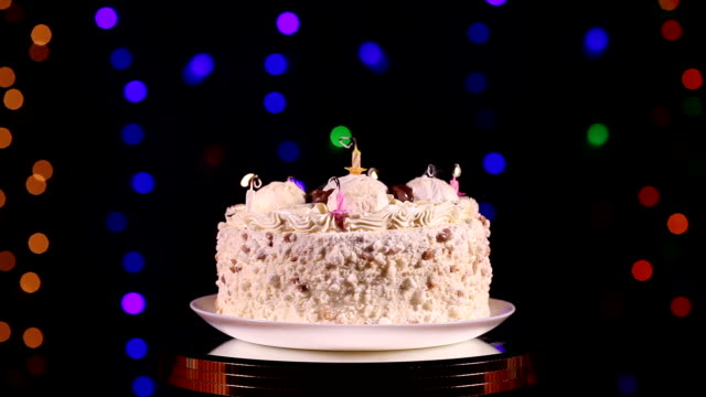 Blowing out the candles of Birthday cake video