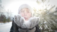 Blowing snow flakes video