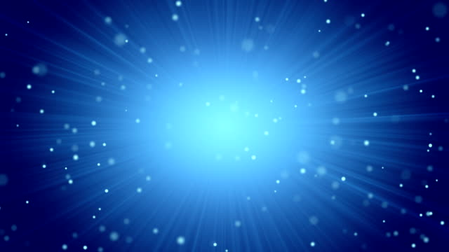 blue abstract background light beams and particles video