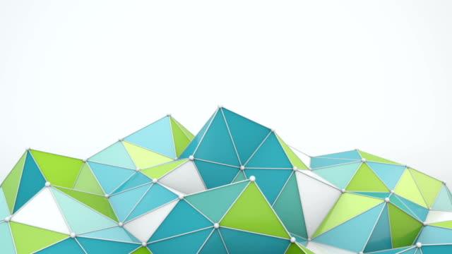 Blue and green polygonal shape 3D render loop video