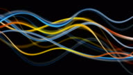 Blue and orange glowing abstract waves video animation video