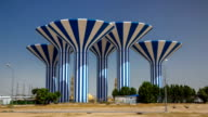 Blue and white water towers in Kuwait timelapse hyperlapse, Middle East video