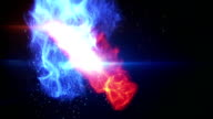 blue and yellow fireballs loop video