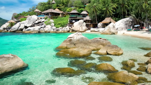 Blue bay with granite stones and palm trees on luxury exotic beach in tropical island, Koh tao, Thailand video