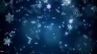 Blue beautiful falling snowflakes video