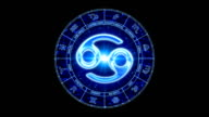blue cancer zodiacal symbol video