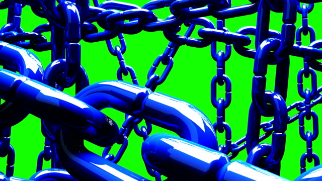 Blue Chains Abstract On Green Chroma Key video