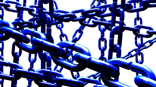 Blue Chains Abstract On White Background video