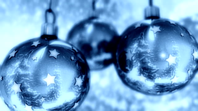 Blue Christmas balls with nice winter reflection. video