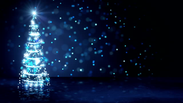 blue christmas tree of glowing particles loop video