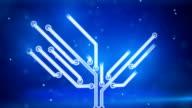blue circuit board electronic hi-tech growing tree video
