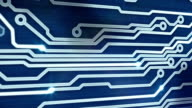 blue circuit board providing signals 3d animation video