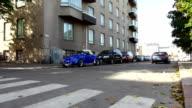 Blue classic Volkswagen beetle parked on Helsinki street video