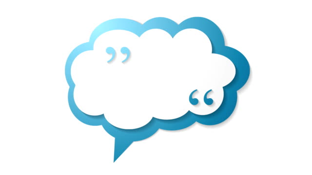 Blue cloud speech bubble with commas, quote video animation video