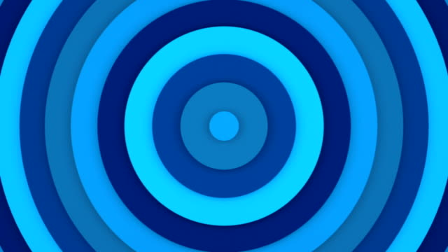 Blue concentric rings abstract 3D animation seamless loop video