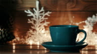 Blue cup of Hot Coffee or Tea video