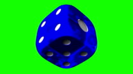 Blue Dice On Green Chroma Key video