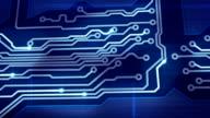 blue digital circuit board and signals pan loop video
