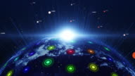 Blue digital earth slowly appearing. Technology related concept. video