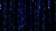Blue digital matrix rain. Seamless loop animation video