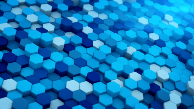 Blue extruded hexagons mosaic 3D render loopable animation video