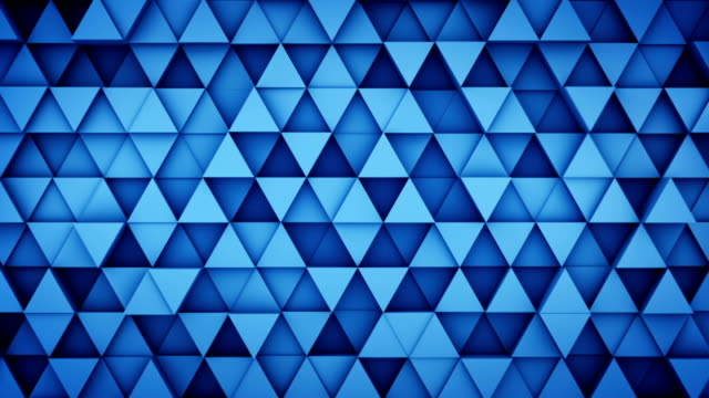 Blue extruded triangles hipster background 3D render loopable video