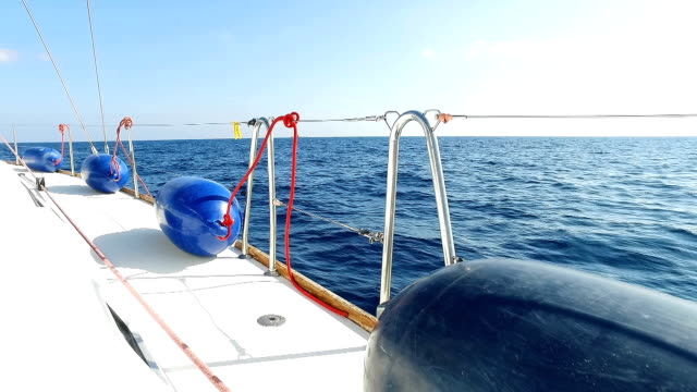 Blue fenders lie on board a sailing yacht, a yacht sails, a blue sea, a blue sky, a clear summer day in the Mediterranean Sea video