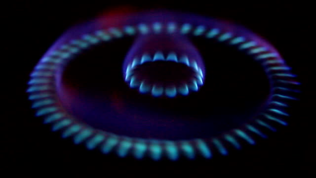 Blue flames of a burning natural gas. video