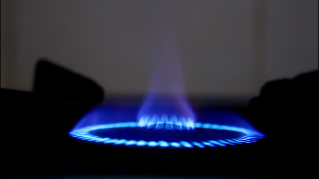 Blue flames of gas. video