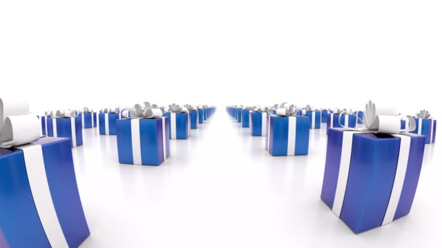 Blue gift boxes with white ribbons. (loop ready) video