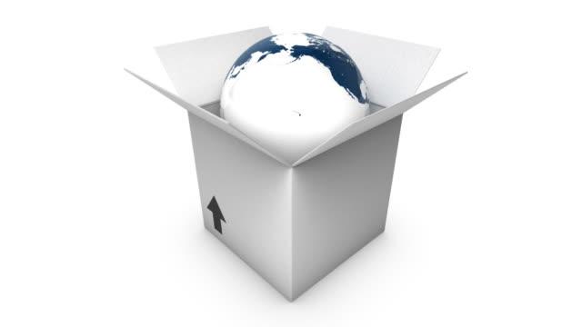 Blue Globe in a box static video