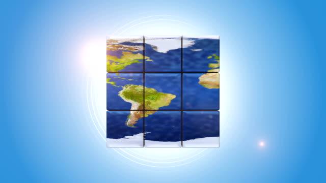 Blue Globe Shaped Intelligence Cube video