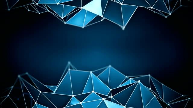 Blue glossy polygonal shape vibrating 3D render loop video
