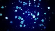 blue glow snowflakes falling loop animation video