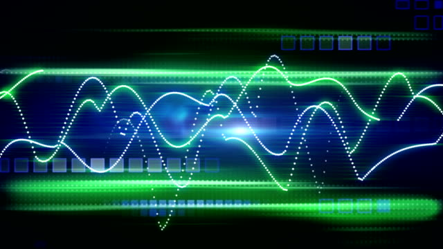 blue green curves and squares tech background loop video
