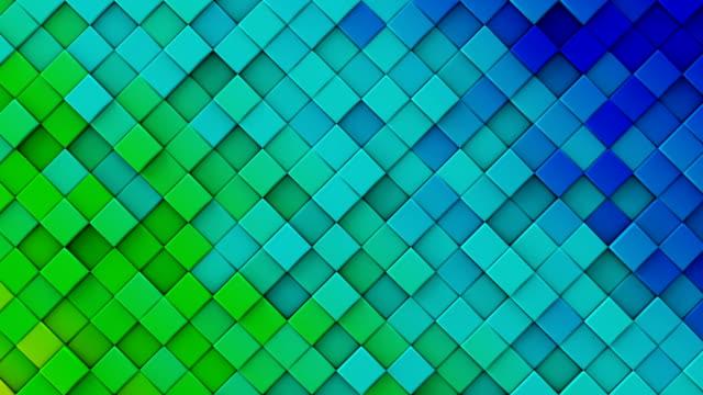 Blue green gradient of rhombs 3D render loopable animation video