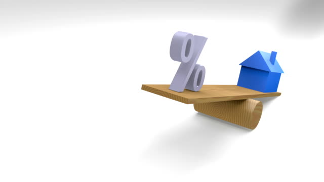 Blue House on Seesaw with percentage sign. video