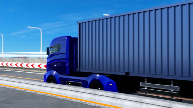 Blue hybrid truck driving in the highway video