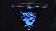 Blue lagoon over ice cubes video