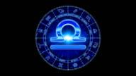 blue libra zodiacal symbol video