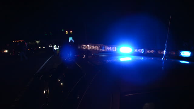 Blue lights at accident scene video