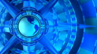 Blue, Loopable, Global Compass Rose with World and Cardinal Points video