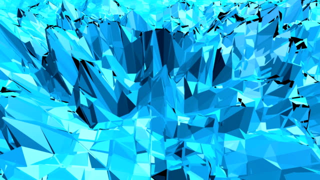 Blue low poly changing surface as decorative environment. Blue polygonal geometric changing environment or pulsating background in cartoon low poly popular modern stylish 3D design. video