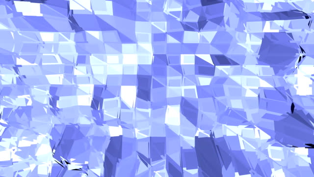 Blue low poly changing surface as decorative environment. Blue polygonal geometric changing environment or pulsating background in cartoon low poly popular modern stylish 3D design 1. video