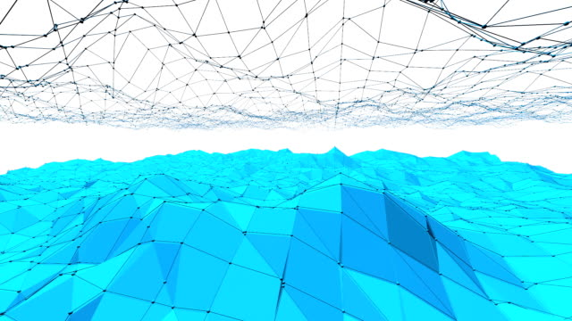 Blue low poly shifting surface as shining environment. Blue polygonal geometric shifting environment or pulsating background in cartoon low poly popular modern stylish 3D design. Free space video