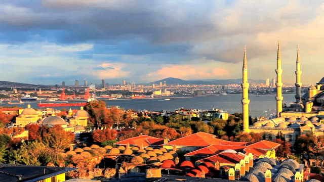 Blue mosque and the sea video